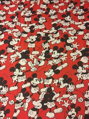 Mickey Mouse Disney Full Size Flat Bed Sheet Red USA Made Black White Crafts