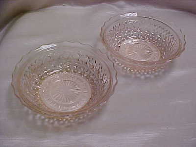 """Jeannette Glass Pink Buttons and Bows 5-1/4"""" Cereal Bowl Lot of 2 Pieces 1940's"""
