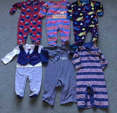 Baby Boy Sleepers Lot of 6 (Size 12-18 Months)
