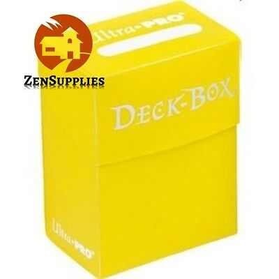 Ultra Pro 80 Sleeved Cards Deck Box Solid Yellow Write On Strip Card Protector