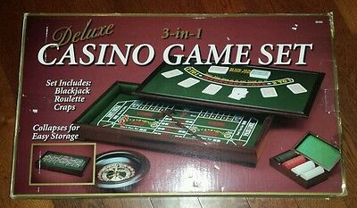 DELUXE REAL WOOD 3 in 1 CASINO GAME SET, BLACKJACK, ROULETTE, CRAPS