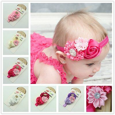 Baby Kid Toddler Infant Flower Rhinestone Headband Hair Accessories Band KU