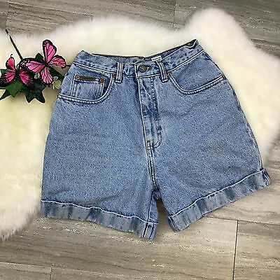 Vintage 1990's Calvin Klein High Waist Denim Mom Shorts Cuffed Light Wash Size 6