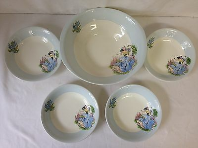 British Anchor Blue Dainty Miss  Serving Bowl and Four Small Bowls