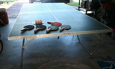 Full size folding table tennis table ping pong + 5 bats 6 ball training / games