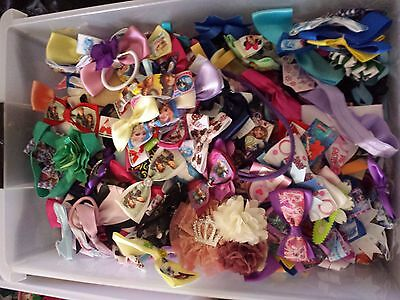 OVER 200 bulk lot hair bows part made/finished craft supplies 500gram bag full