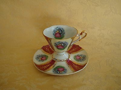 Vintage Napco Hand Painted Victorian Courting Couple Cup & Saucer Japan #IYD 200