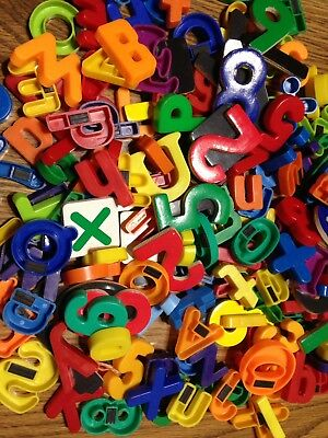 200 Plastic Magnetic Alphabet Abc's (Capital & Lowercase) Numbers & Signs Mixed
