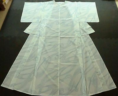 Japanese vintage KIMONO,Silk, Light blue, See-through, Good condition K060835