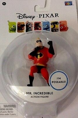"Disney Pixar The Incredibles Mr Incredible Action Figure  3"" Poseable Xmas Gift"