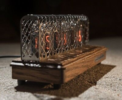 Past Indicator Nixie Tube Clock in oak case with mesh