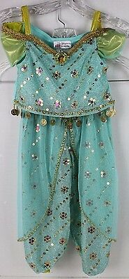 DISNEY PARKS Costume PRINCESS JASMINE 2-pc Outfit X Small Sz 4-5 Jade Green EUC