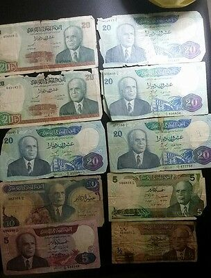 Tunisia 140 and half dinars 1972 1980 1983 lot of 10 banknotes