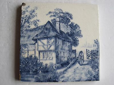 Antique Victorian Mintons Transfer Print Tile - Thatched Cottage And Pond