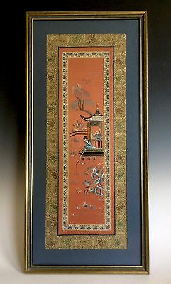 Beautiful Vintage Chinese Embroidered Silk Panel Framed With Glass