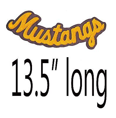 """Chenille Letter Jacket Patch Letterman Varsity Mustangs Yellow Gold 13.5"""" Long"""