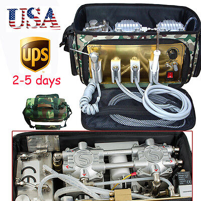 A portable bag Dental turbine Unit air Compressor Suction system triplex syringe