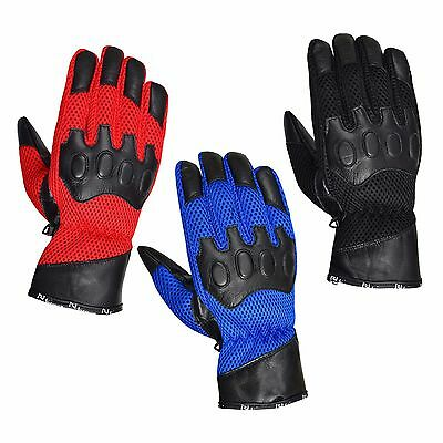 Summer Motorcycle Motorbike leather Vented gloves 3 Colours