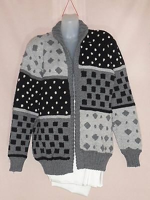 1980's Vintage Hand Knitted Wool Jacket/Cardigan in Abstract Pattern.
