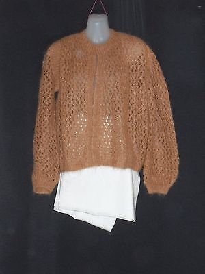 1970's/80's Vintage Lacy Crocheted Mohair Cardigan.