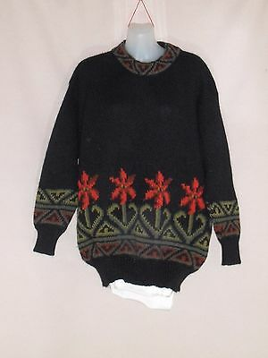 1980's/90's Vintage Thick Knit Jumper with Patterned Border.
