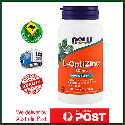 L-Optizinc 30mg 100 Caps by NOW Foods with Copper Immune Support Enzyme Function