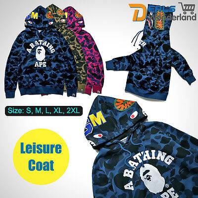 A Bathing Ape Bape Shark Head Camo Pullover Hoodie Sweatshirt Coat Mens Jacket
