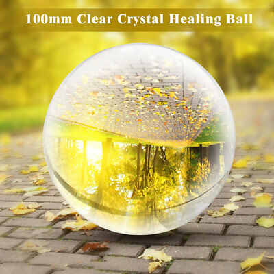 100mm Round Glass Crystal Ball Magic Clear Healing Divination Sphere Room Decor