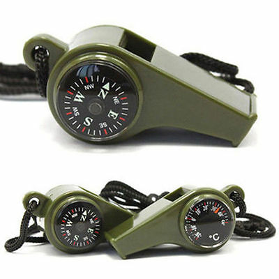 New 1 x 3 In 1 Camping Survival Tool Compass Thermometer Whistle Safety
