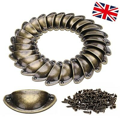 24 Cupboard Door Kitchen Cabinet Cup Drawer Furniture Antique Shell Pull Handles