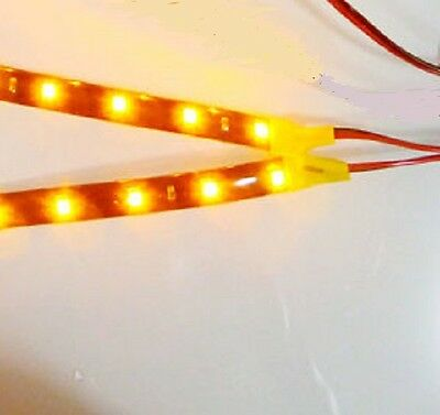 5 x Pre-Wired 4.8-12V 3 LED Yellow Self Adhesive Light Strips W/Grey Wire