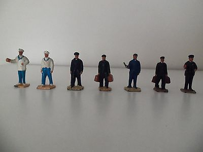 Meccano Dinky O Gauge Station Staff Figures x 7 - Ideal for Hornby Layout