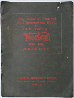 Norton Dominator 88 and 99 Maintenance Manual and Instruction Book - 1956