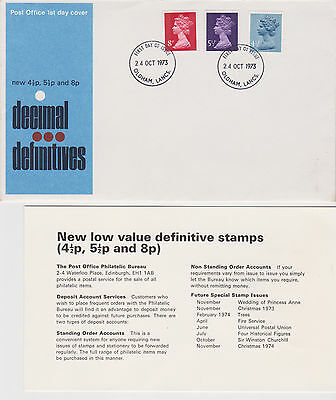 Great Britain First Day Cover New Decimal Definitives4.5p, 5.5p & 8p 1973