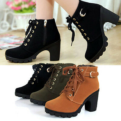 Girl Women High Top Heel Lace Up Buckle Ankle Boots Winter Pumps Suede Shoes MG