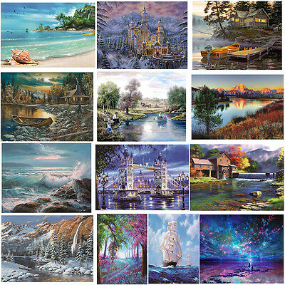 5D Diamond DIY Painting Craft Island Beach Nature Home Wall Decoration Kit