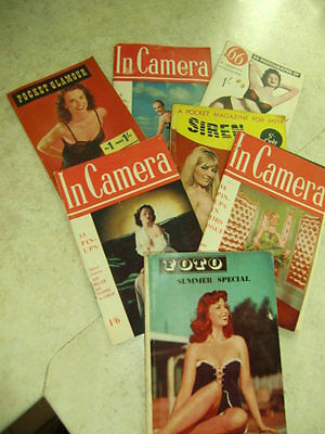 Job lot of 7 Vintage Pocket Glamour/pinups/foto summer Special Magazines 1950'