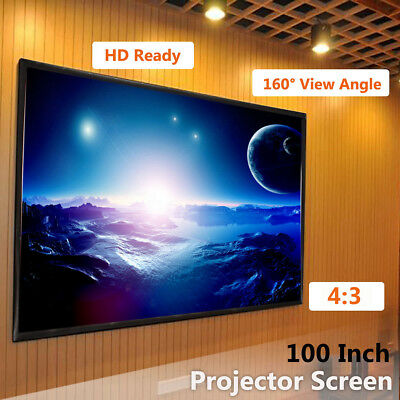 "100"" Inch 4:3 Projector Projection Screen Fabric Matte HD Home Cinema Theater"