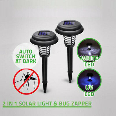 Solar Powered LED Light Mosquito Pest Bug Zapper Insect Killer Lamp Garden Lawn