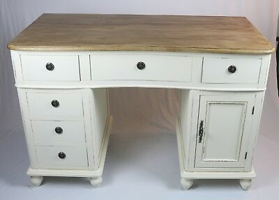 French Country Twin Pedestal Desk Office Table Shabby Chic Vintage Antique Cream