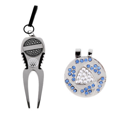 Portable Magnetic Golf Ball Marker and Hat Clip with Divot Repair Tool