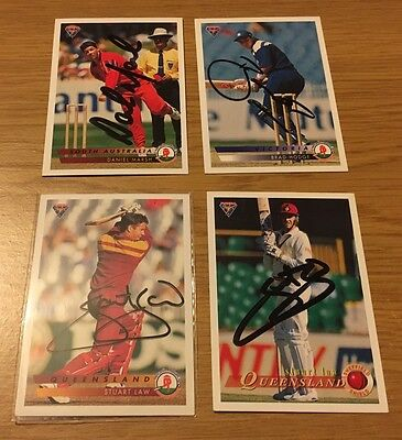 Futera Cricket Trading Cards Personal Signed Cards Lot Of 4