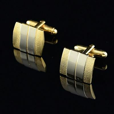 Stainless Steel Two Tone Silver & Gold Men's Cufflinks Wedding Business Gift UK