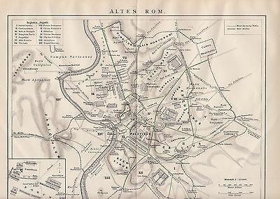 Stich 1895 Altes Rom Rome - Stadtplan City Map Holzschnitt Antique Print