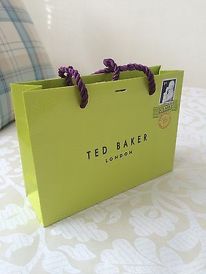 Ted Baker London Small Original Green And Purple Gift Bag Carrier Bag