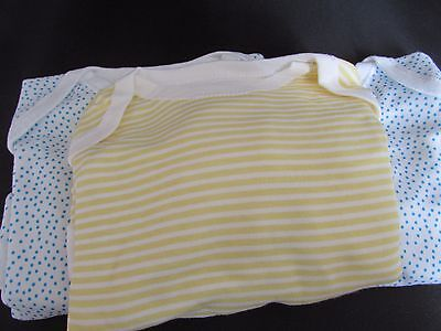 Pack of 3 Bodysuits Little Turquoise Spots and Yellow Stripe 6-9 Months