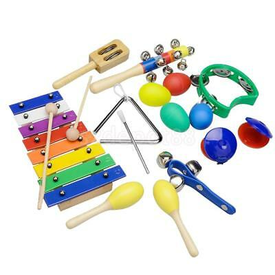 10pcs Kids Musical Instruments Xylophone Maracas Egg Shakers Triangle Bell