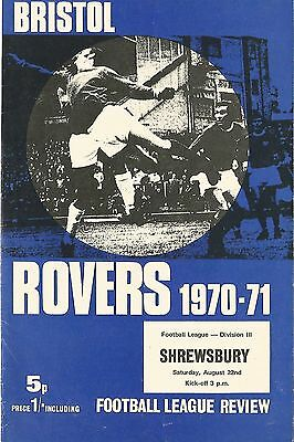Football Programme - Bristol Rovers v Shrewsbury - Div 3 - 22/8/70