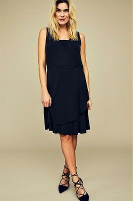 BNWT Mamalicious Maternity Dress Navy Nursing Breastfeeding Size 10 - 16 £30