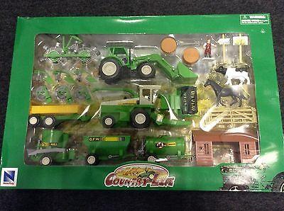 NEWRAY - Country Life Farm Playset and Animals - Farmyard Playset
